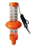 Thermometer floating above water surface